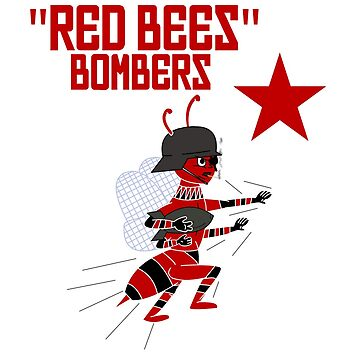 Red Bees Army Airplane War Comic Bombers Rugby by GarciaPayan