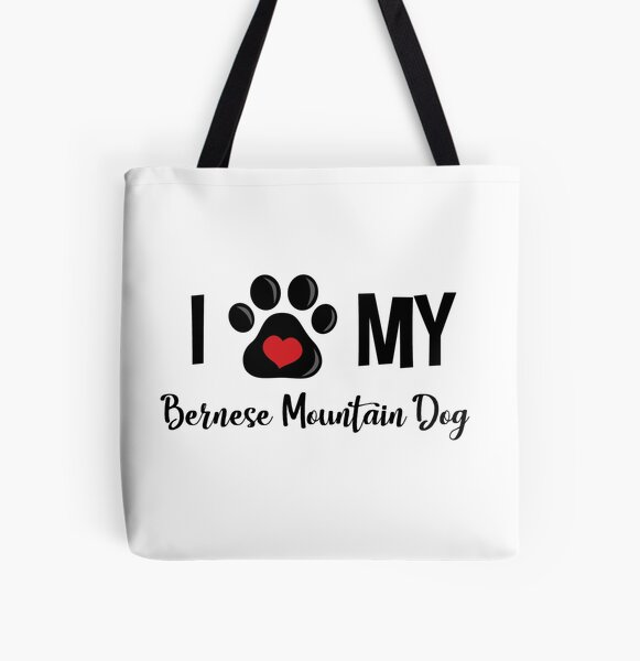 I Love My Bernese Mountain Dog All Over Print Tote Bag