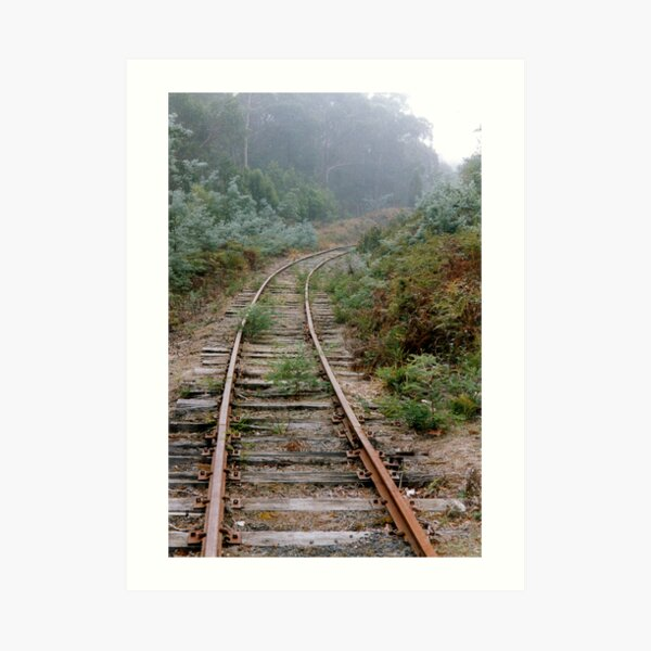 Rusty Rails into the Mist (Value Truth) Art Print