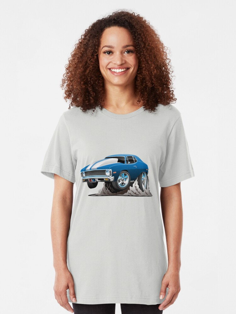 Alternate view of Classic American Muscle Car Cartoon Slim Fit T-Shirt