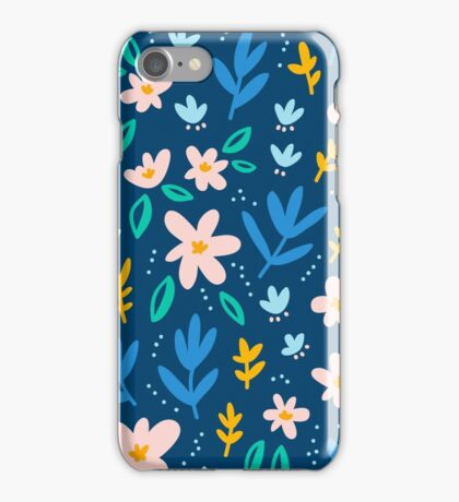 Colorful flowers on deep blue background  iPhone Case/Skin