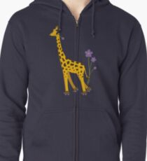 Purple Cartoon Funny Giraffe Roller Skating Zipped Hoodie