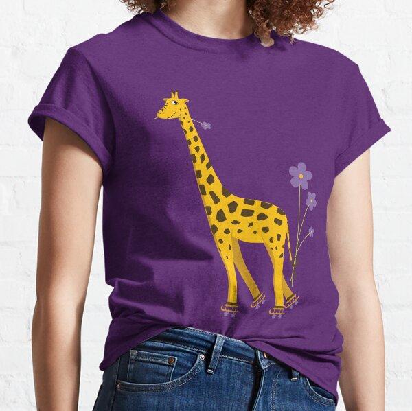 Purple Cartoon Funny Giraffe Roller Skating Classic T-Shirt