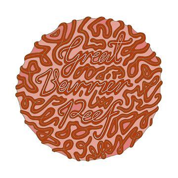 Coral Brain Great Barrier Reef Genuine Aboriginal Art 12 Red by wigilwigil