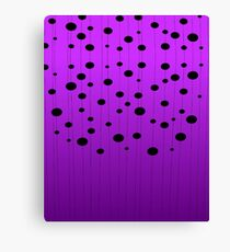 Black ovals, dots on strings purple pattern Canvas Print