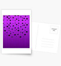 Black ovals, dots on strings purple pattern Postcards