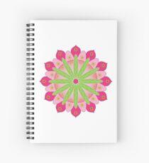 Mandala fleur, rosace verte et rose Cahier à spirale