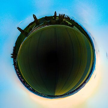 Sphere panoramic view of green fields, evening, Alsace, France, by sorokopud