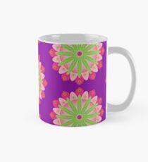 Mandala fleur, rosace verte et rose Mug