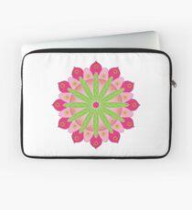 Mandala fleur, rosace verte et rose Housse de laptop
