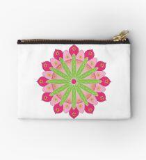 Mandala fleur, rosace verte et rose Pochette