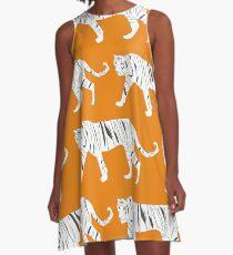 Tiger-Druck A-Linien Kleid
