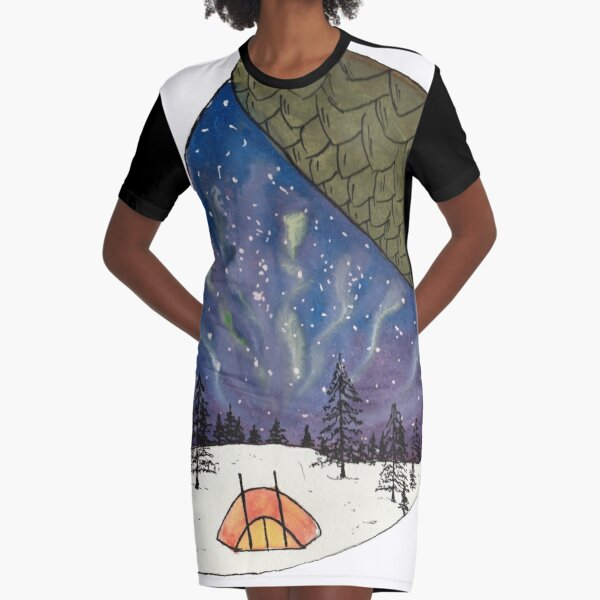 Camping under Aurora Borealis in a Nutshell Graphic T-Shirt Dress