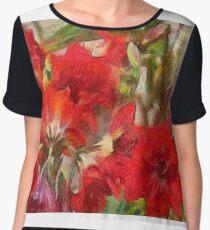 Red Lilies Chiffon Top
