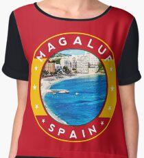 Magaluf Spain, tshirt, red bg Chiffon Top