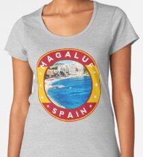 Magaluf Spain, tshirt, red bg Women's Premium T-Shirt
