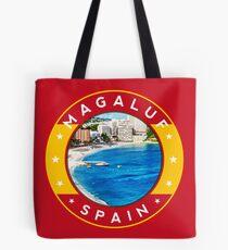 Magaluf Spain, tshirt, red bg Tote Bag