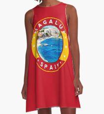 Magaluf Spain, tshirt, red bg A-Line Dress