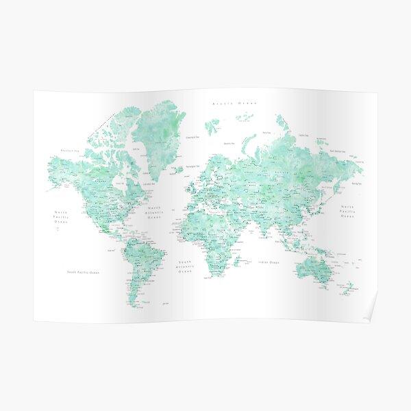 "Mint watercolor world map ""Desie"" Poster"