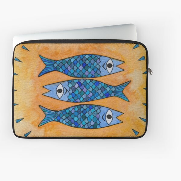 Three blue sardines watercolor painting Laptop Sleeve