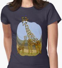 Giraffe and Calf Women's Fitted T-Shirt
