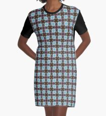 fashion rectangles shapes 60's artwork seamless colorful repeat pattern Graphic T-Shirt Dress