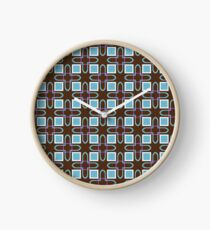 fashion rectangles shapes 60's artwork seamless colorful repeat pattern Clock