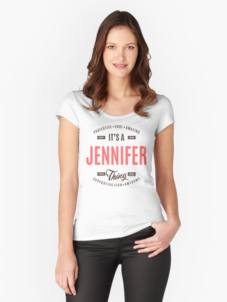 Jannifer Tees Women's Fitted Scoop T-Shirt Front