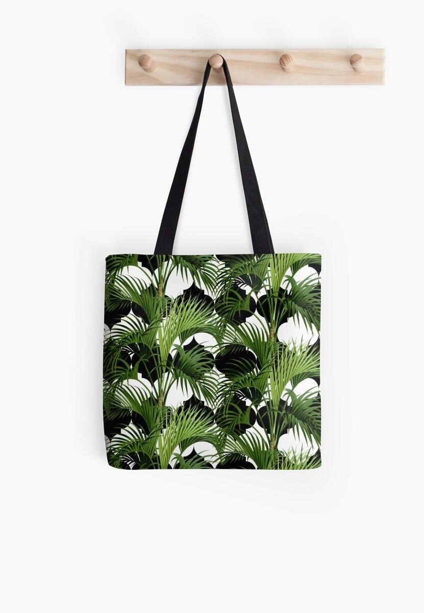 Palms on Quatrefoil Pattern - Black Gold by Nicole Demereckis
