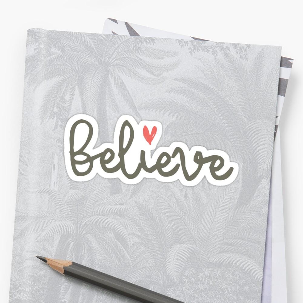 Believe Christian sticker, tumbler decal, illustrated faith by UncommonFaith