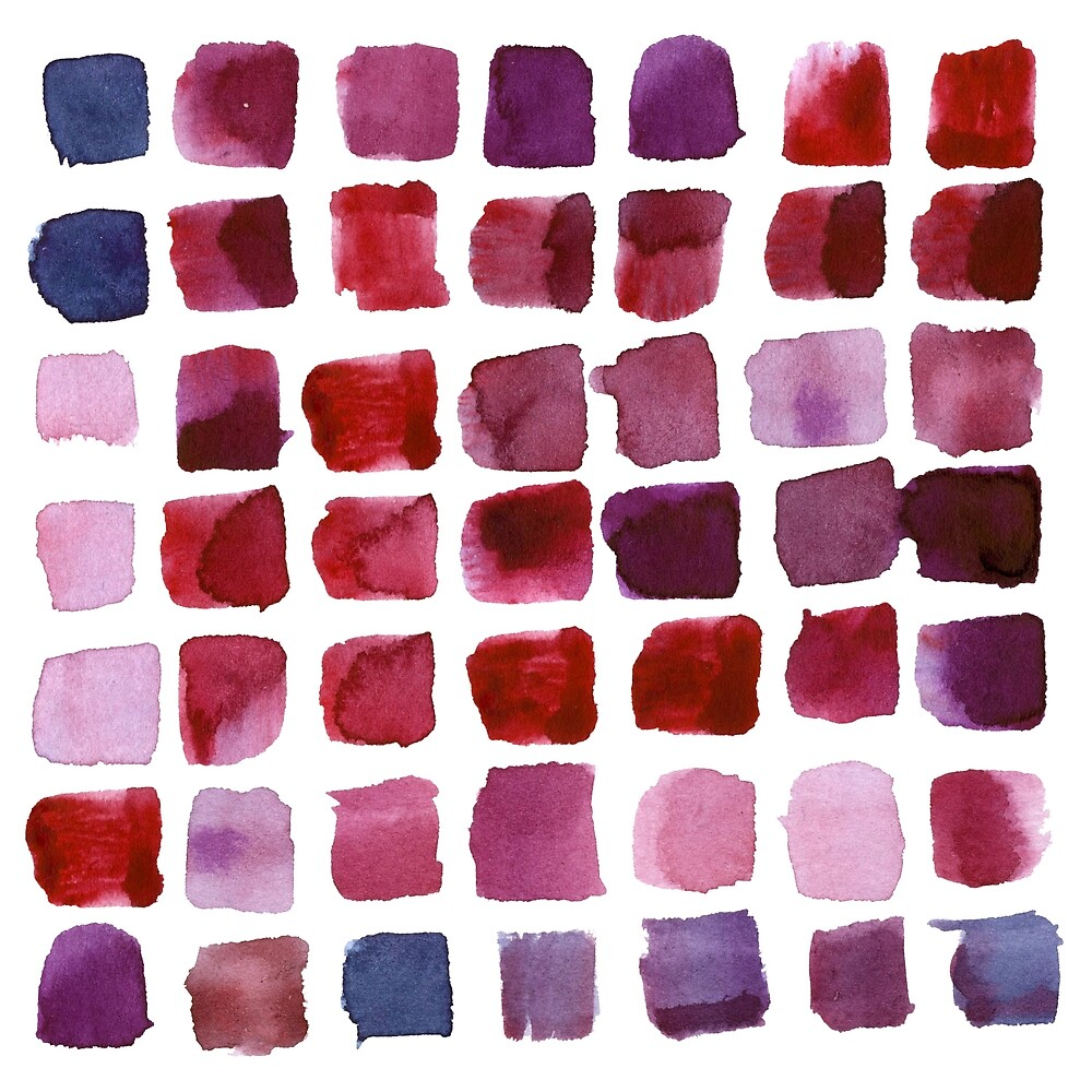 Abstract watercolor hand painted squared strokes of bright red, pink and lilac colors by Uralstales