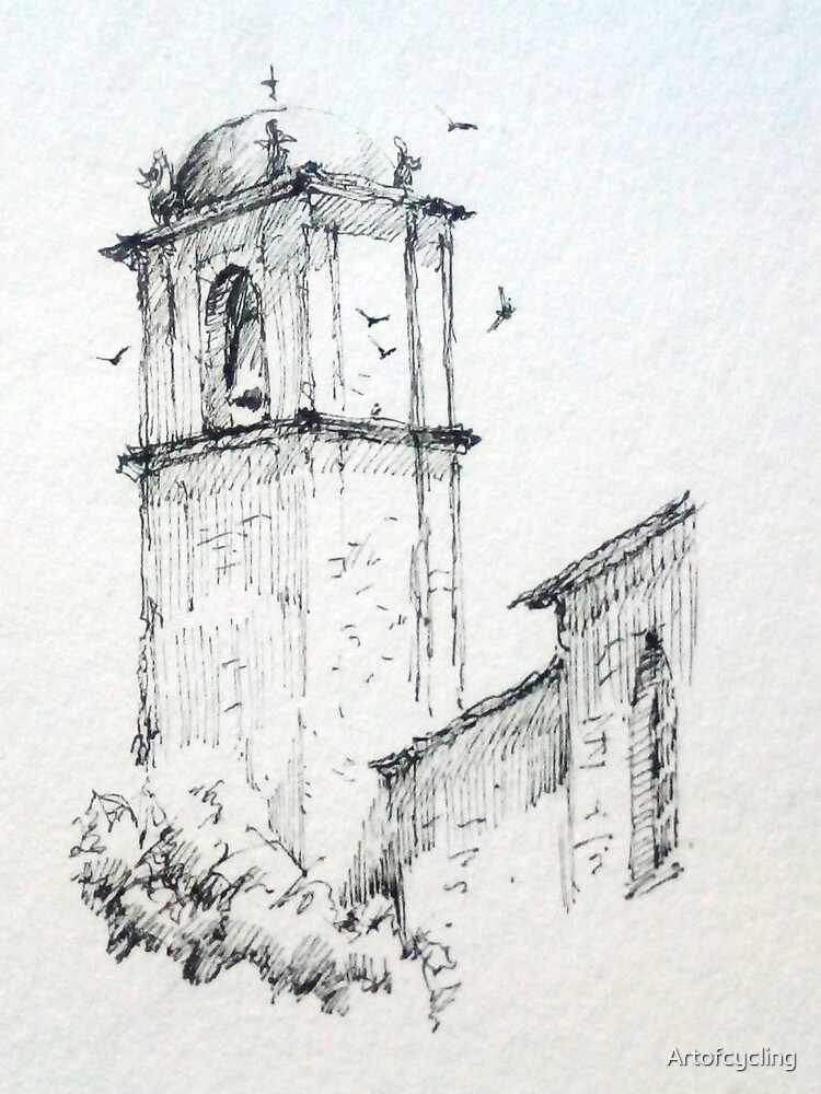 Church tower with birds by Artofcycling