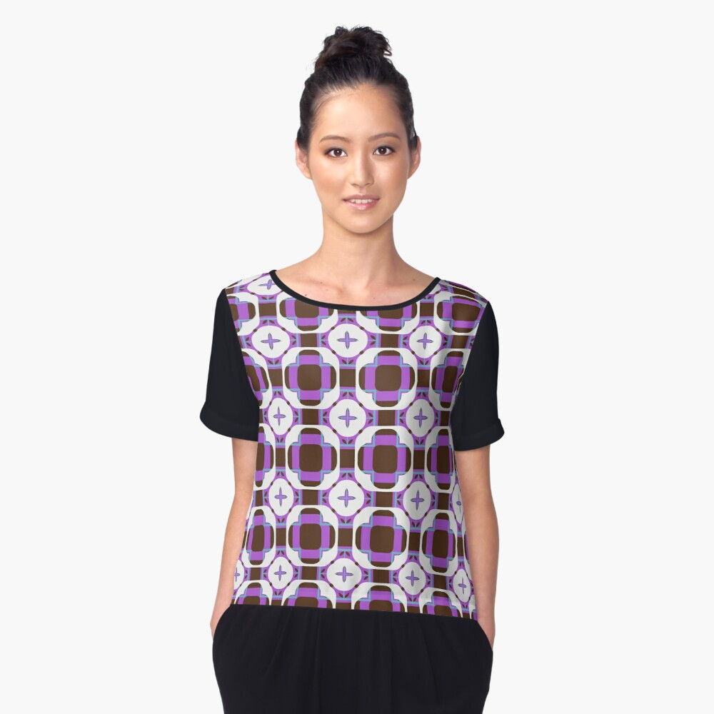 sixties square fashion retro shapes seamless colorful repeat pattern Women's Chiffon Top Front