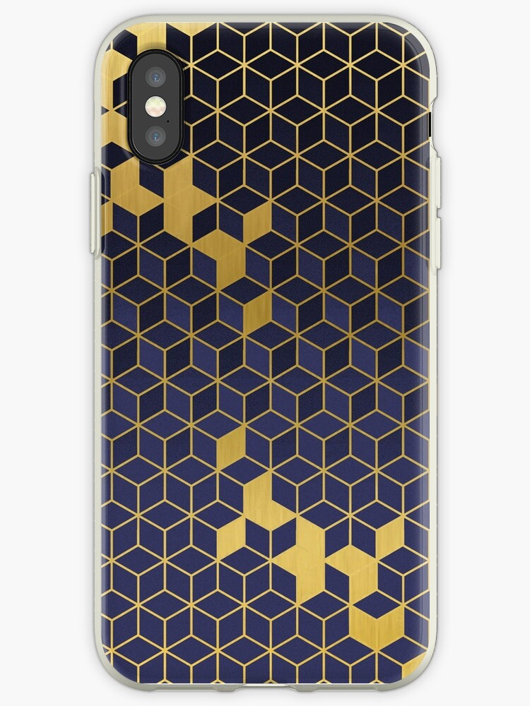 Gold and Blue Geometric Abstract Illusion by RecoveryGift