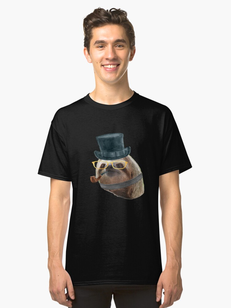 Sloth Yellow Glasses top hat Sloths In Clothes Classic T-Shirt Front