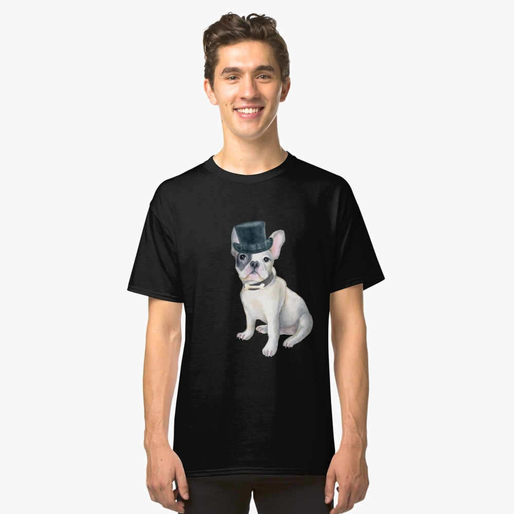 Frenchie French Bulldog Top Hat BONE Dogs In Clothes Classic T-Shirt Front