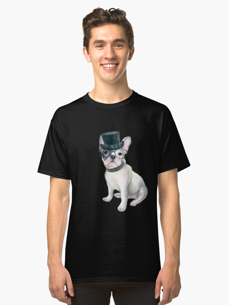 Frenchie French Bulldog Top Hat black glasses Dogs In Clothes Classic T-Shirt Front