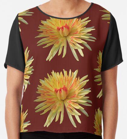 zauberhafte Blume in den Farben gelb und rot  Chiffontop für Frauen