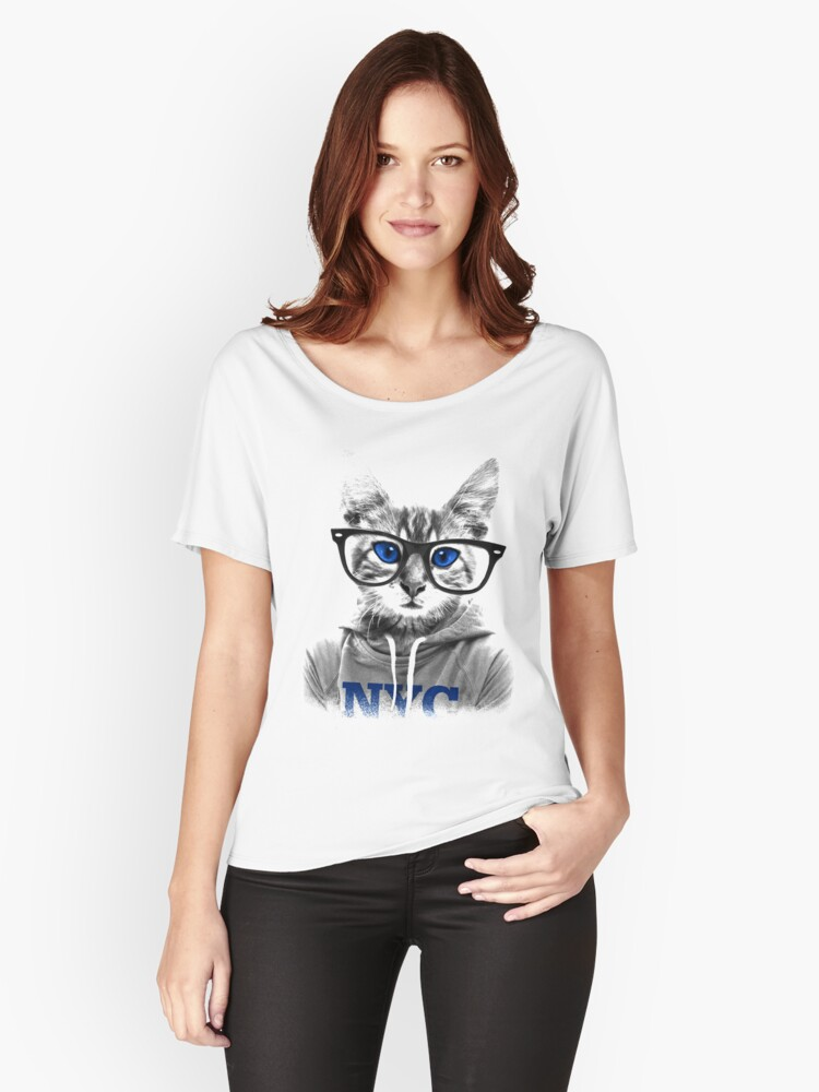 NYC Cat Funny T-Shirt Women's Relaxed Fit T-Shirt Front