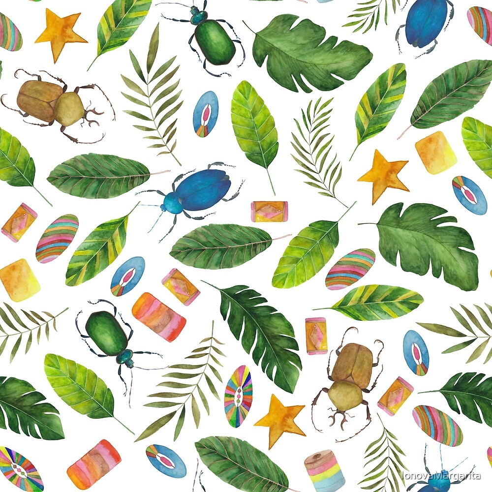 Summer mood. Bugs&Beads collection. Bright watercolor tropic bugs with leaves and beads by IonovaMargarita