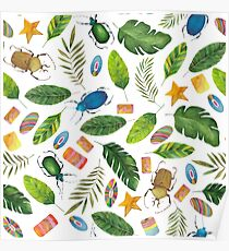 Summer mood. Bugs&Beads collection. Bright watercolor tropic bugs with leaves and beads Poster
