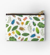 Summer mood. Bugs&Beads collection. Bright watercolor tropic bugs with leaves and beads Studio Pouch