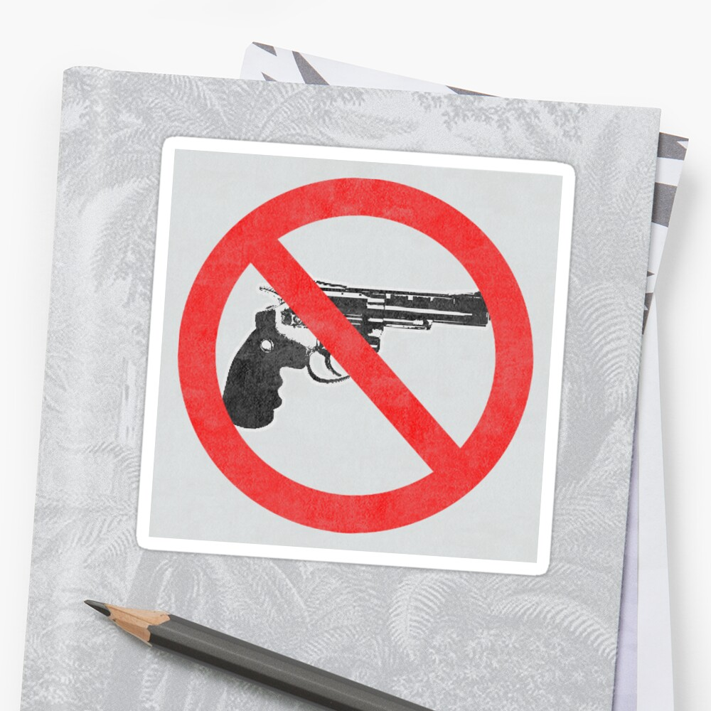 Just Say No to Guns Sticker Revolver Textured White by Oldskool0482