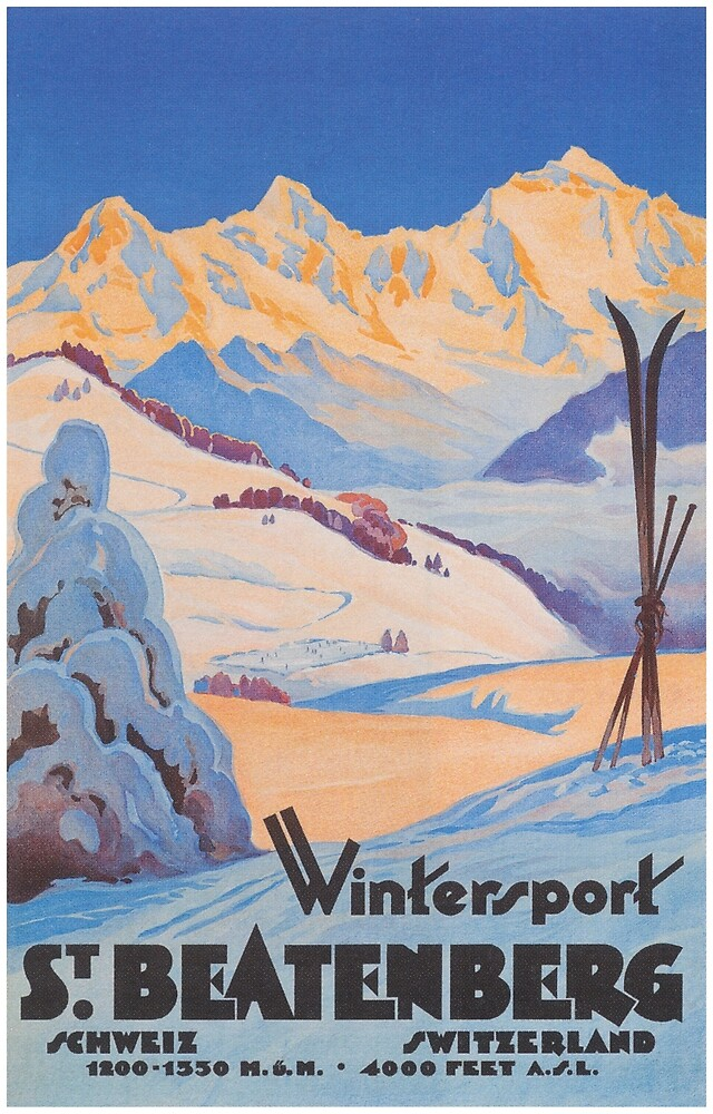 St. Beatenberg Switzerland Vintage Travel Poster by vintagevivian