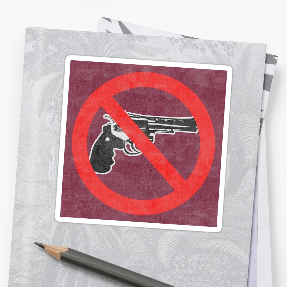 Just Say No to Guns Sticker Revolver Textured Red by Oldskool0482