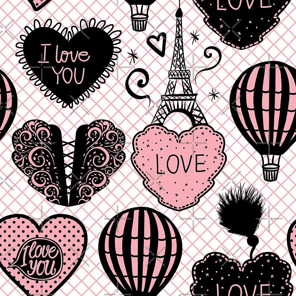 Fashion illustration pattern of a romantic Paris  by IngaMaya