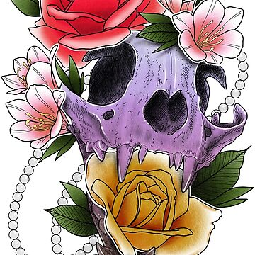 Cat Skull and Flowers by sweetink