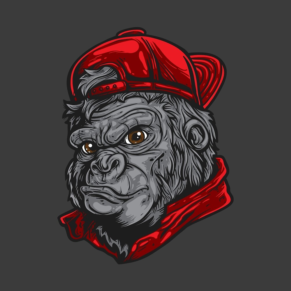Gorilla Wearing Red Hat by TomCage