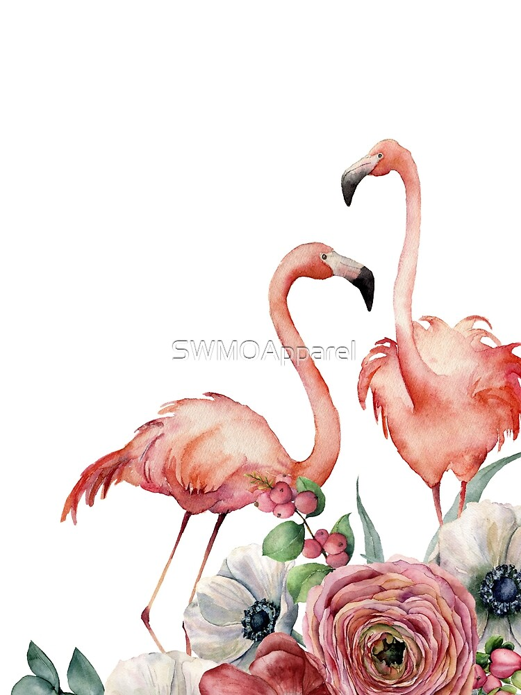 Watercolor Pink Flamingos by SWMOApparel