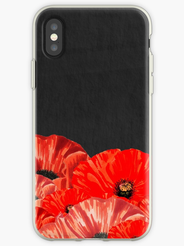 Red Poppies on Chalkboard Background by MathisDesigns